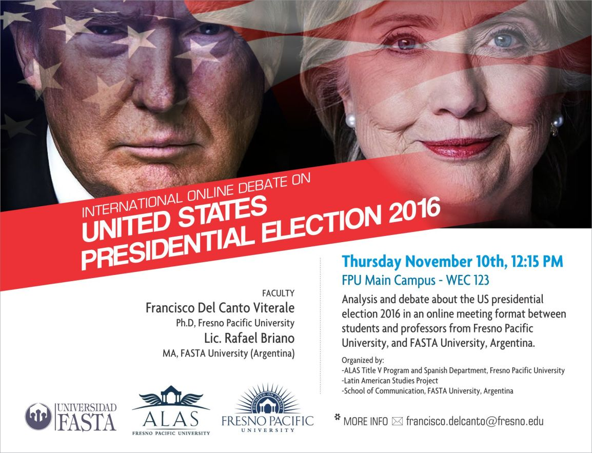 "The International Debate on ""United States Presidential Election 2016"", organized by Francisco Del Canto Viterale, was held last November 10th in online meeting format."