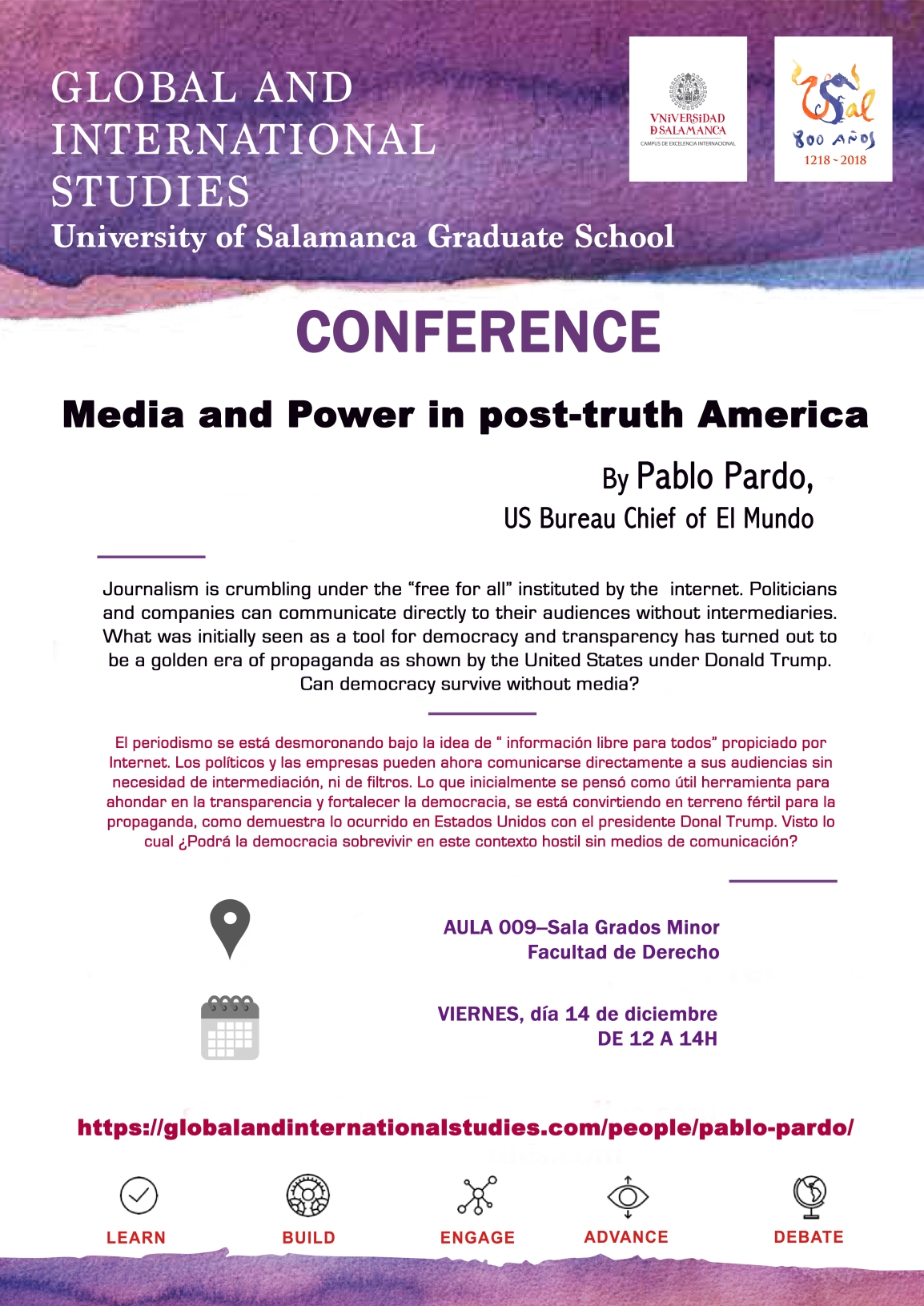 "Conference by Pablo Pardo about ""Media Power in post-truth America"", next 14 december at the Faculty of Law."