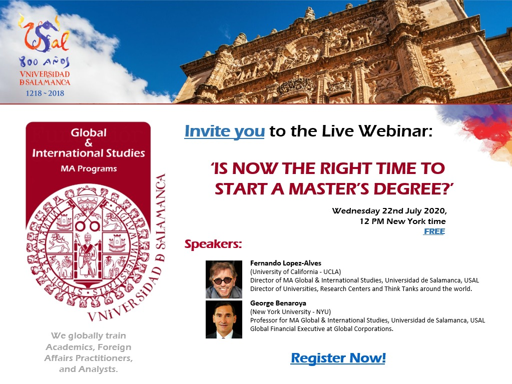 "Webinar: ""Is now the right time to start a master's degree?"", July 22nd. Limited seats available"